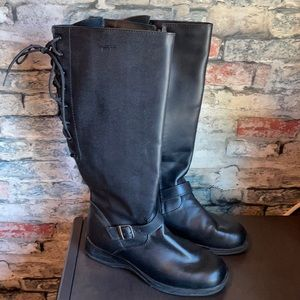 Martino Nlack Leather Side Zipper Back Lace Up High Boot Az 8